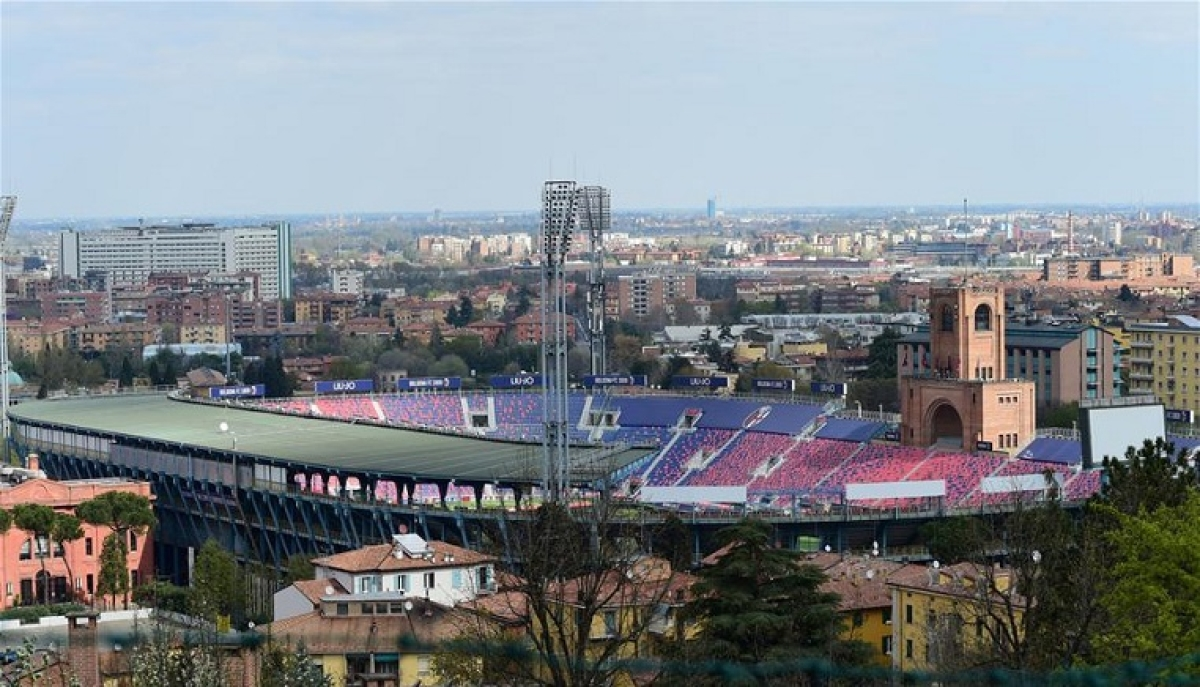 A stadium is seen empty in Bologna, Italy, on April 1, 2020. Italy registered a total of 110,574 COVID-19 cases as of Wednesday, and the death toll stood at 13,155, according to fresh figures released by the country's Civil Protection Department managing the national emergency response.