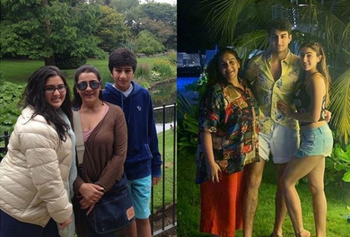 Sara Ali Khan shares then-and-now pics with mom Amrita, brother Ibrahim