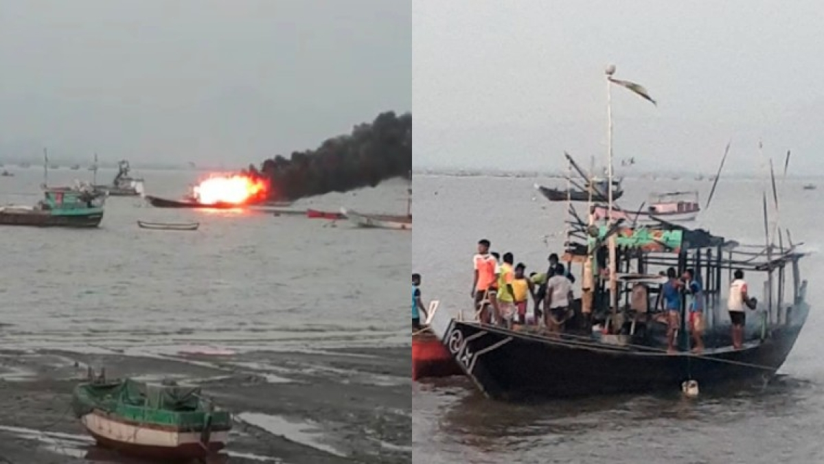 Mumbai: Anchored fishing boat catches fire in Uttan near Bhayandar