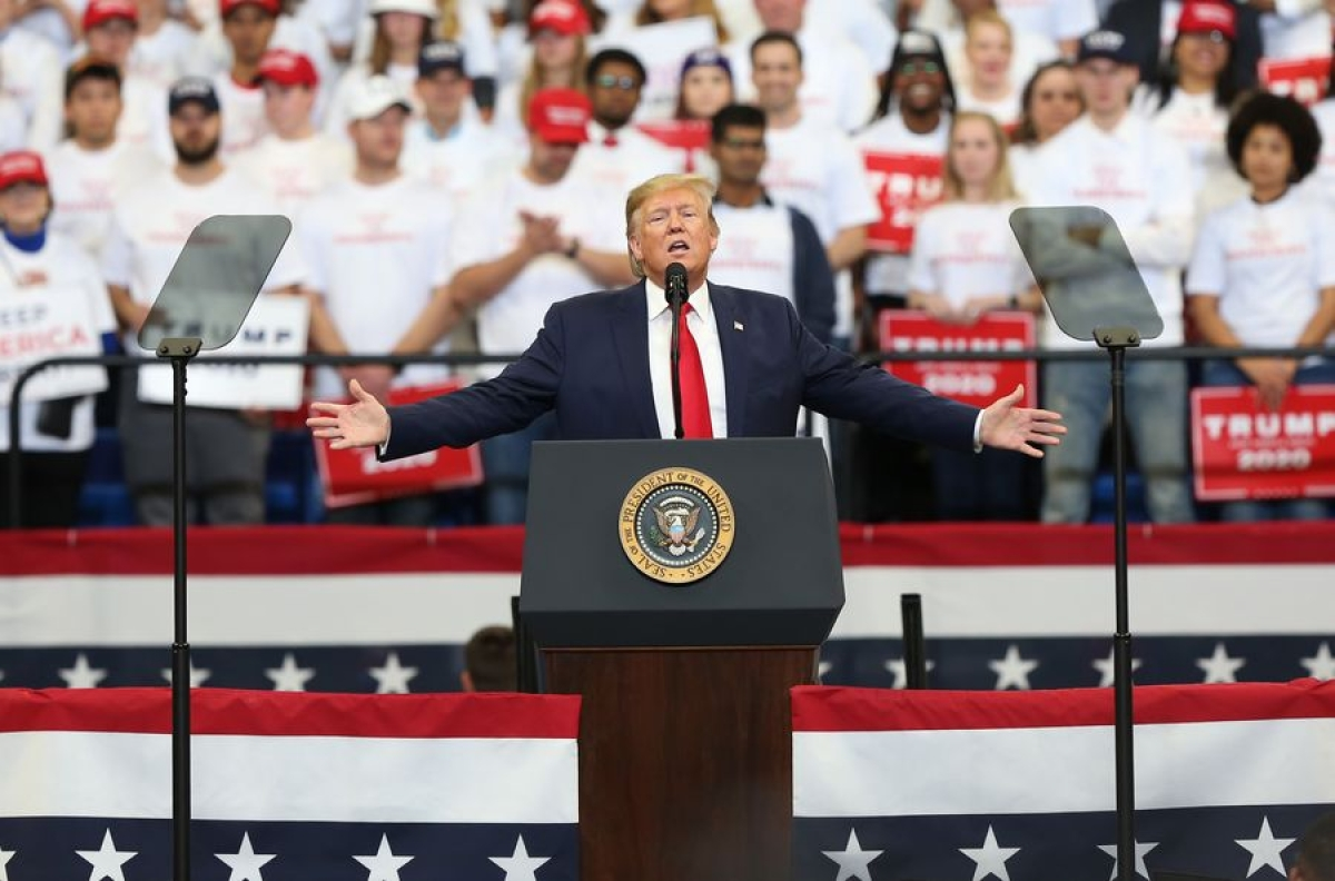 U.S. President Donald Trump participates in a campaign rally in Lexington, Kentucky, the United States, on Nov. 4, 2019.
