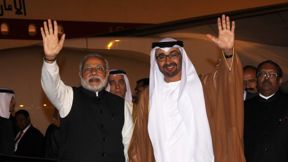 Prime Minister Narendra Modi with His Highness Sheikh Mohammed bin Zayed Al Nahyan, Crown Prince of Abu Dhabi