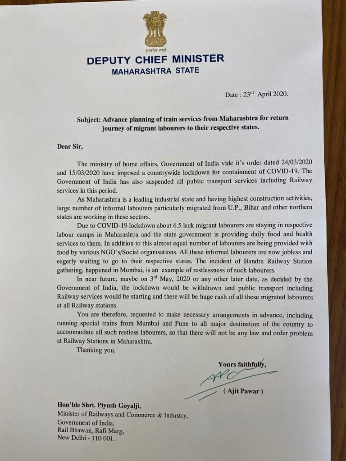 Make advanced plans to run trains from Mumbai and Pune for stranded migrant labourers: Maha DCM Ajit Pawar to Piyush Goyal