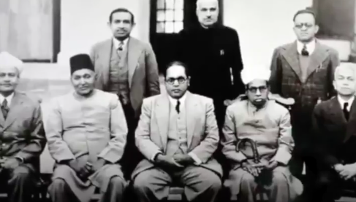 Dr Ambedkar (centre) and his team that drafted the Indian Constitution