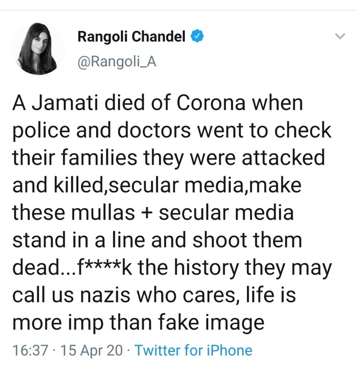 Rangoli Chandel's Twitter account suspended after controversial tweet on Moradabad stone pelting