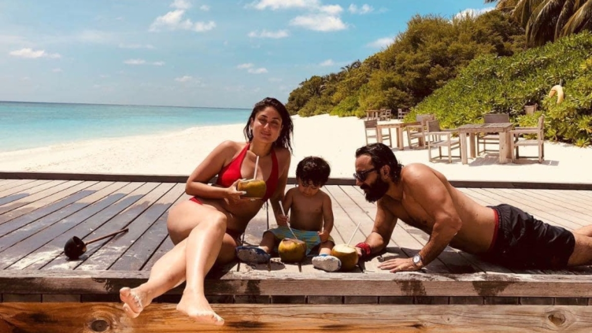 Throwback Thursday: Kareena Kapoor sizzles in red bikini while Taimur, Saif Ali Khan bond over coconut water
