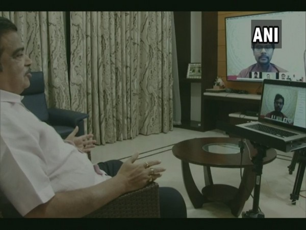 Nitin Gadkari interacts with Indian overseas students through video conference