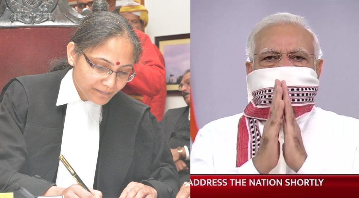 Justice Anubha Rawat Choudhary and PM Modi
