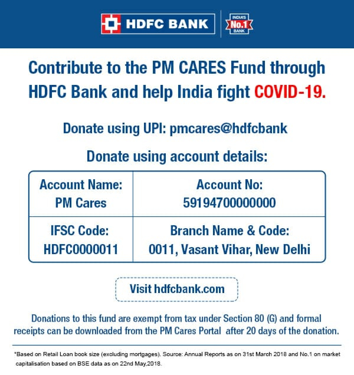Govt nominates HDFC Bank to collect donations for PM Cares Fund