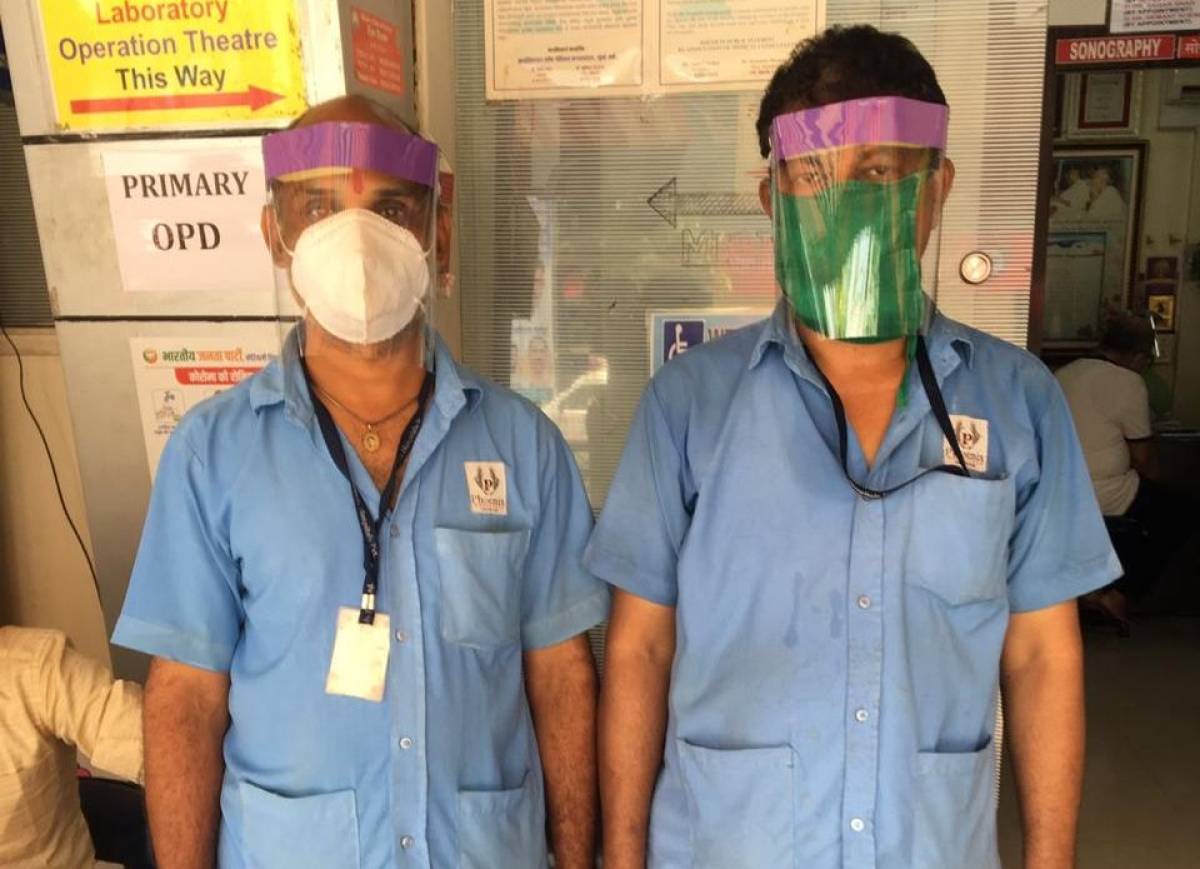 Young engineers help doctors with protective face shields