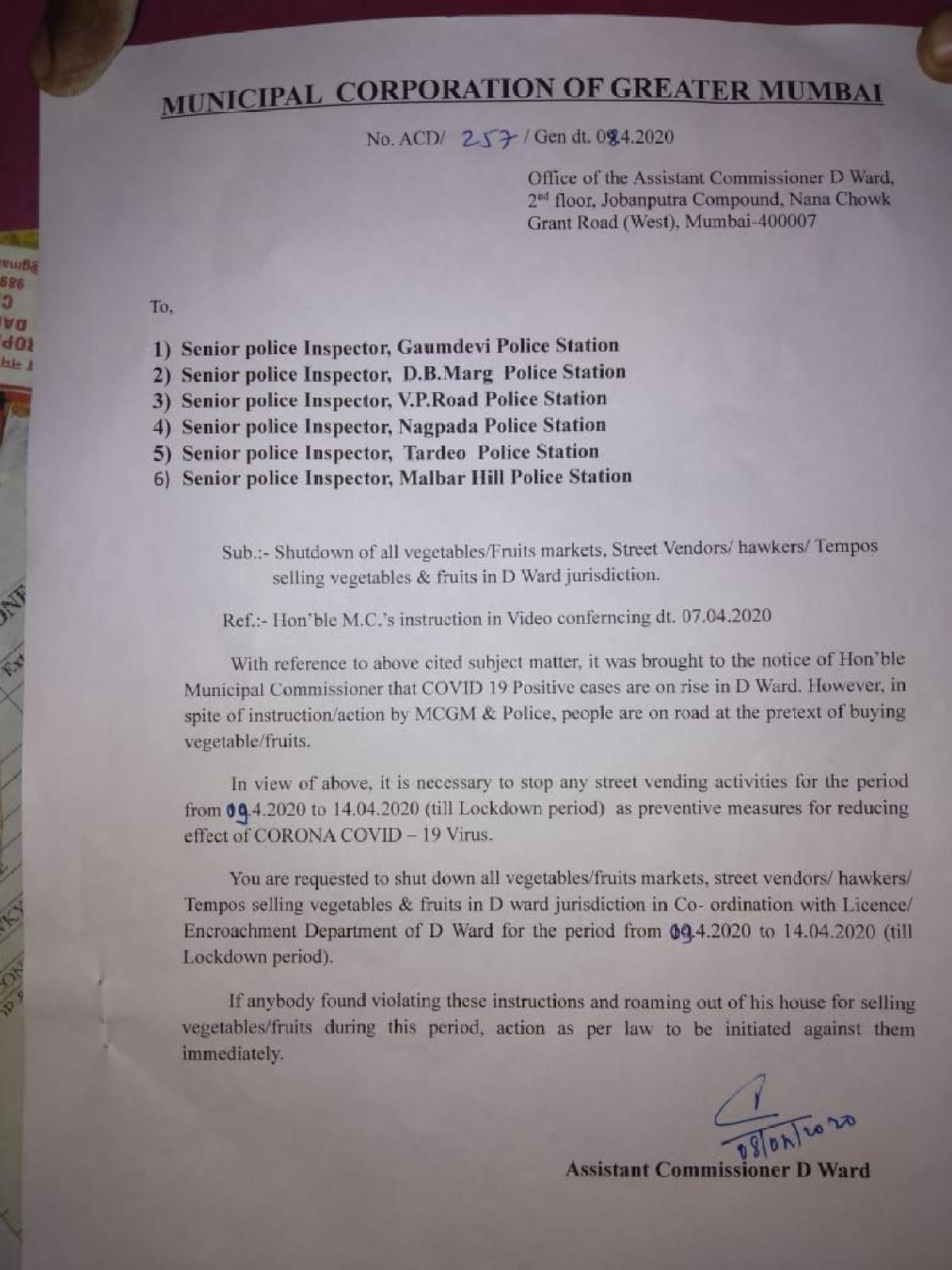 Mumbai: BMC clarifies shutdown orders in D-Ward, says it's for hawkers; similar orders in G North, L Ward