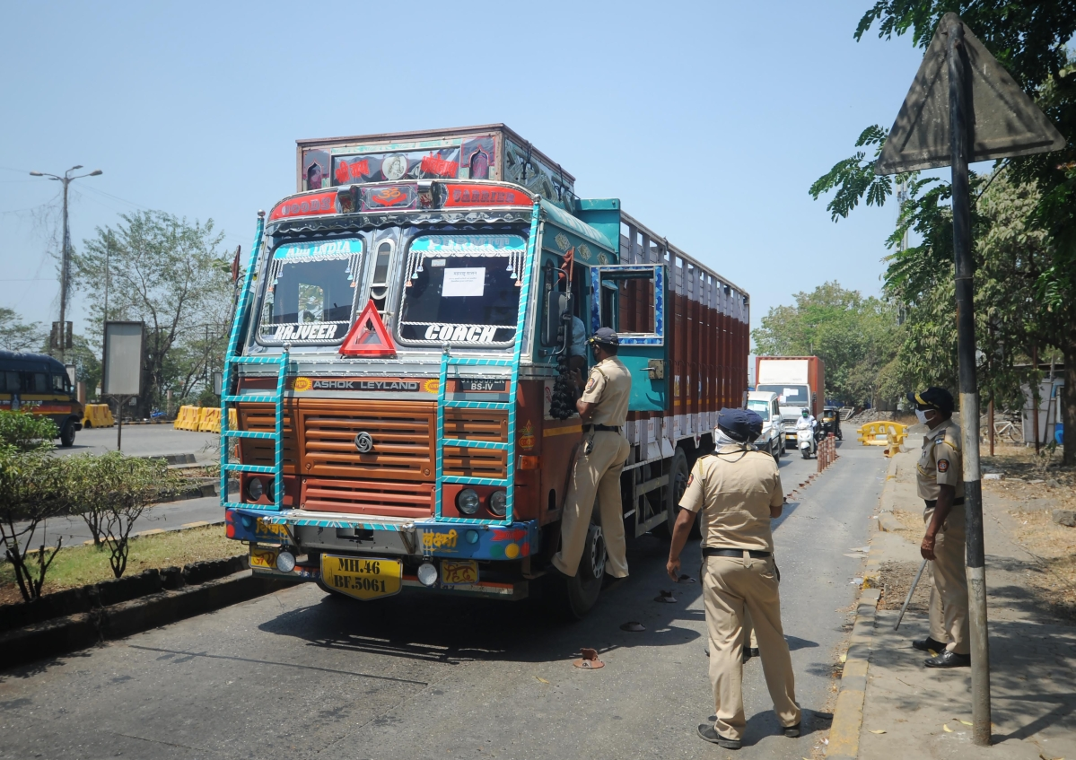 Mumbai police checks all the vehicles across the city during the lock down.