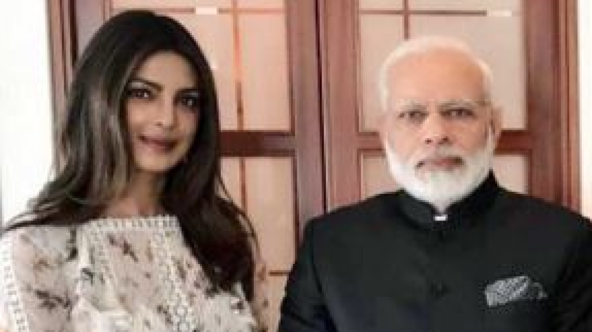 Actor Priyanka Chopra with India PM Narendra Modi.