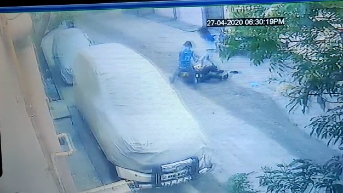 CCTV footage showing the accused assaulting the victim security guard.