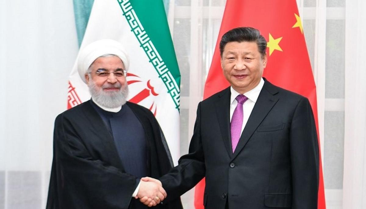 Chinese President Xi Jinping meets with Iranian President Hassan Rouhani in Bishkek, Kyrgyzstan, June 14, 2019.