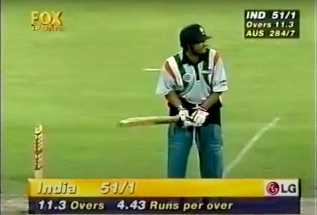 Sachin Tendulkar taking guard during that innings of 143