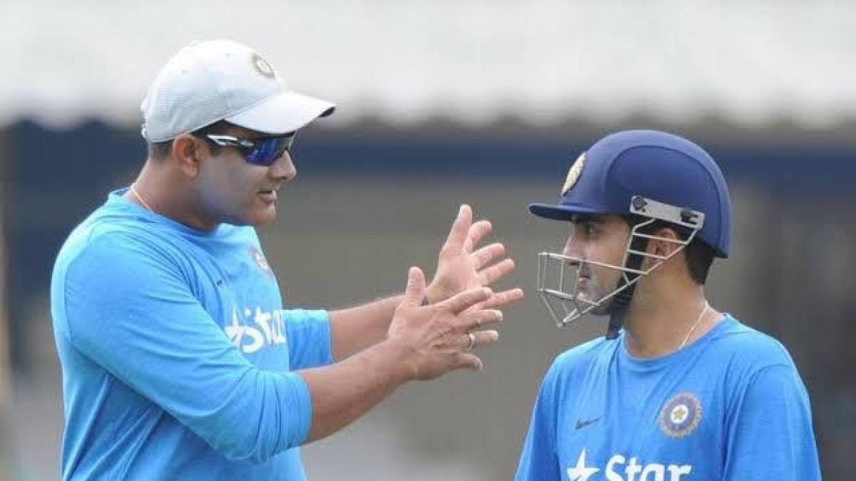 Gautam Gambhir and Anil Kumble (L)