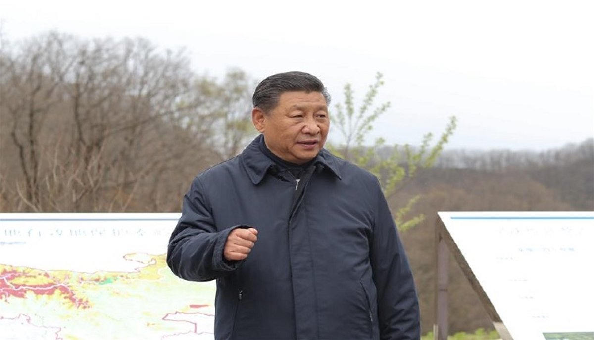 Chinese President Xi Jinping, also general secretary of the Communist Party of China Central Committee and chairman of the Central Military Commission, visits Niubeiliang National Nature Reserve to learn about ecological conservation in the Qinling Mountains, northwest China's Shaanxi Province, April 20, 2020.