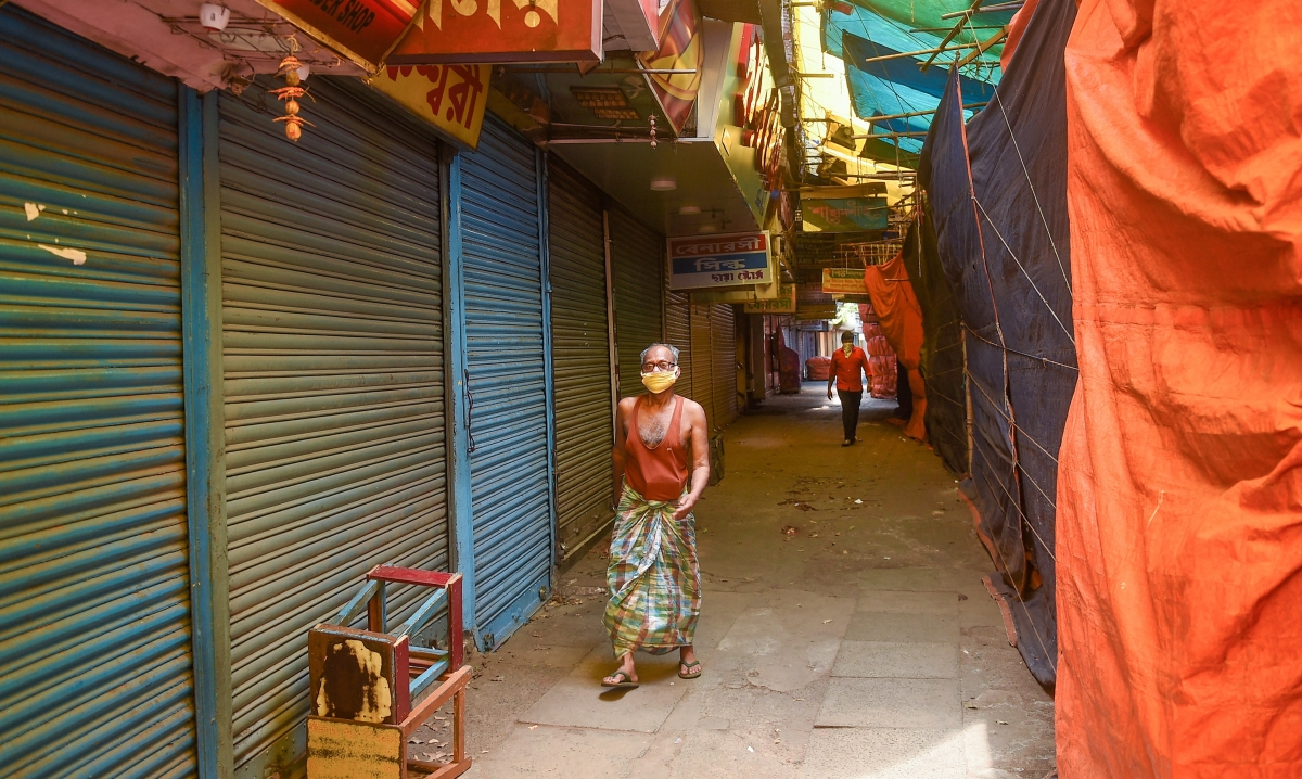 Closed shops at a market in Kolkata on Saturday, May 9, 2020