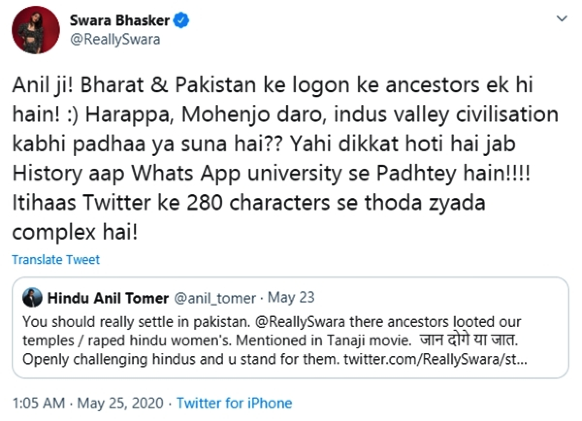 'Pak ancestors looted temples and raped Hindu women': Swara Bhasker schools man who learned 'history' from 'Tanhaji' movie