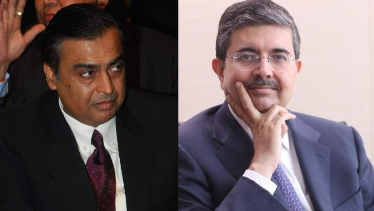 Mukesh Ambani (L)  and Uday Kotak (R)
