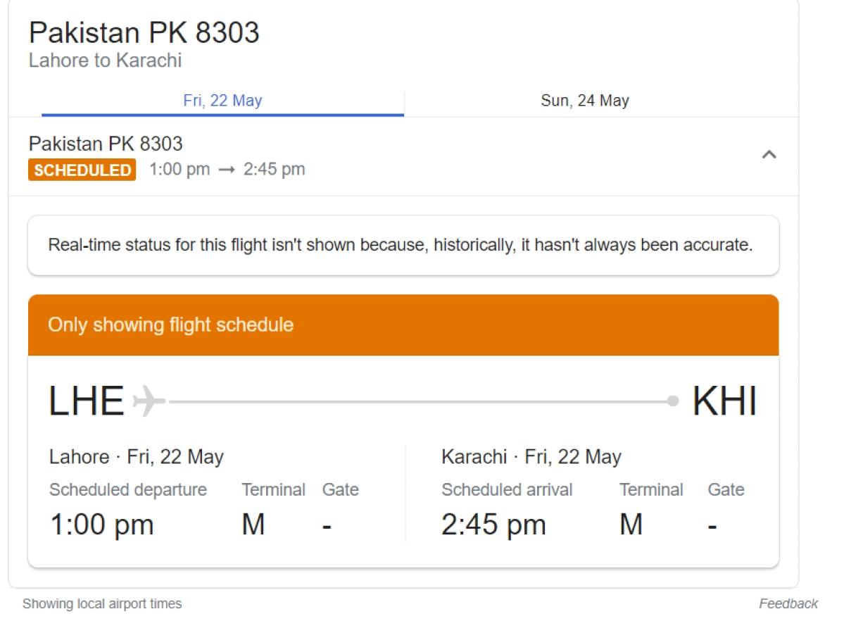 PIA flight PK 8303 with 90 passengers and 8 crew members crashes near Karachi Airport