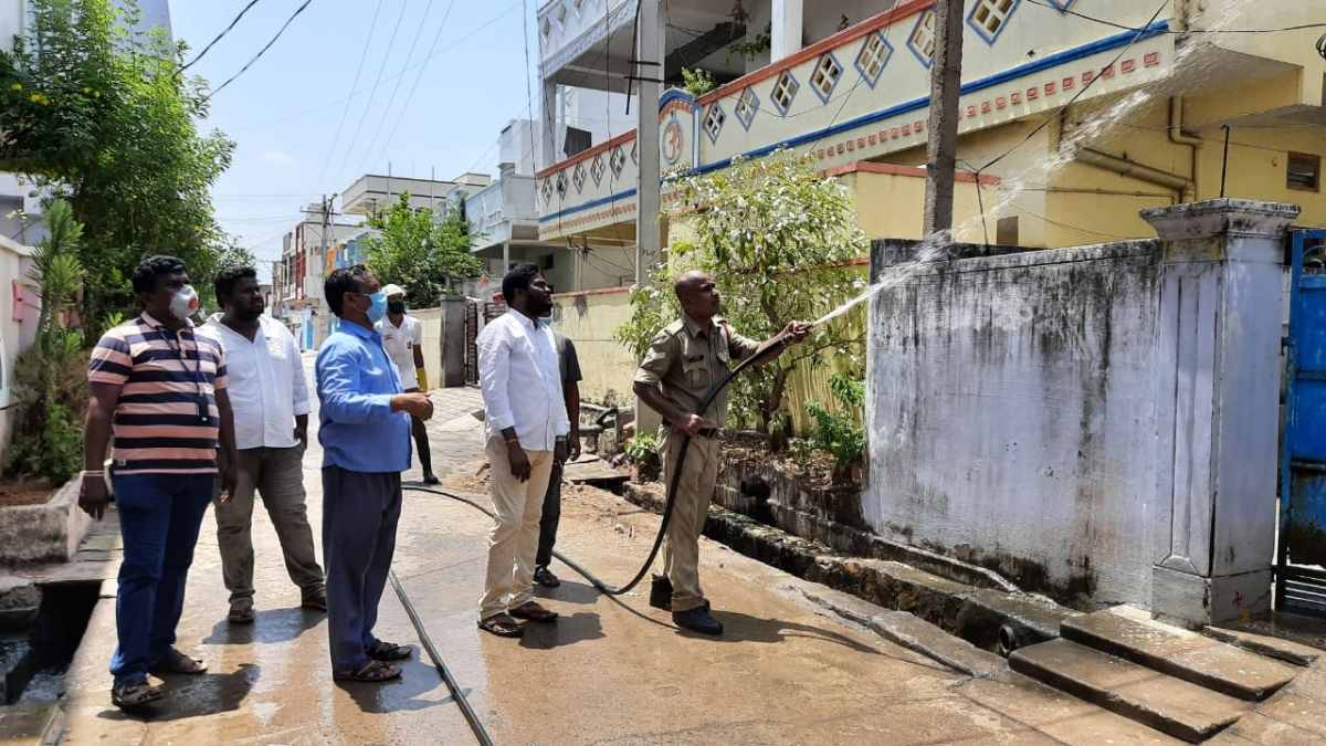NTPC-Ramagundam sprays disinfectants in Annapurna Colony