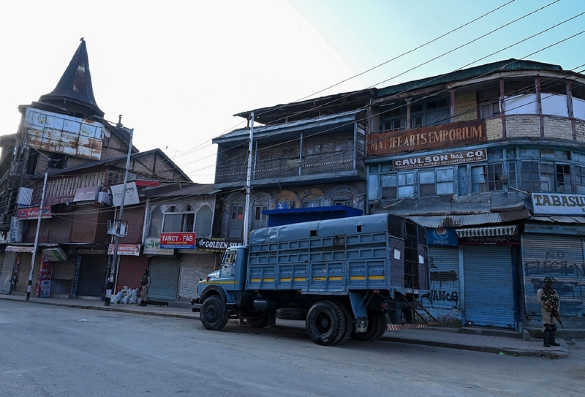 A file photo of the lockdown in Kashmir