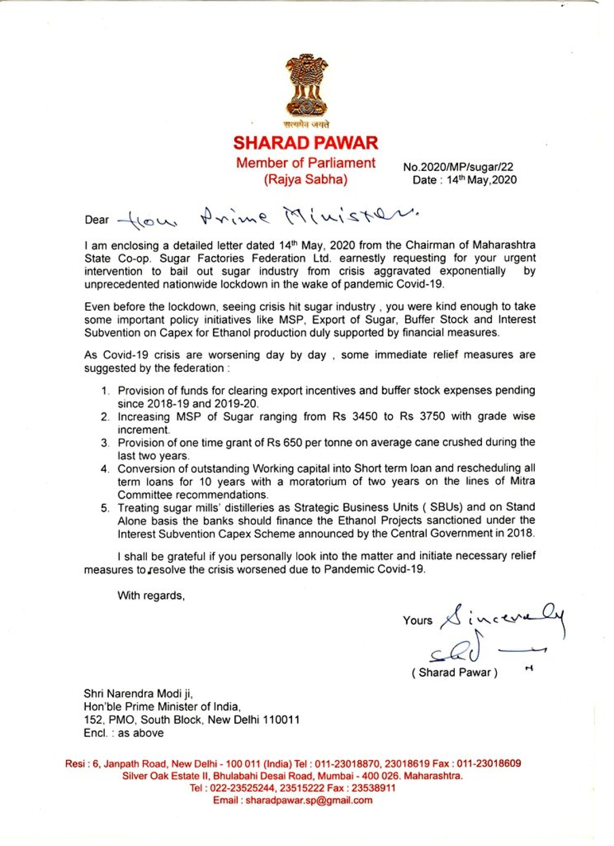 Sharad Pawar writes to PM Modi; requests to take measures for crisis-hit sugar industry