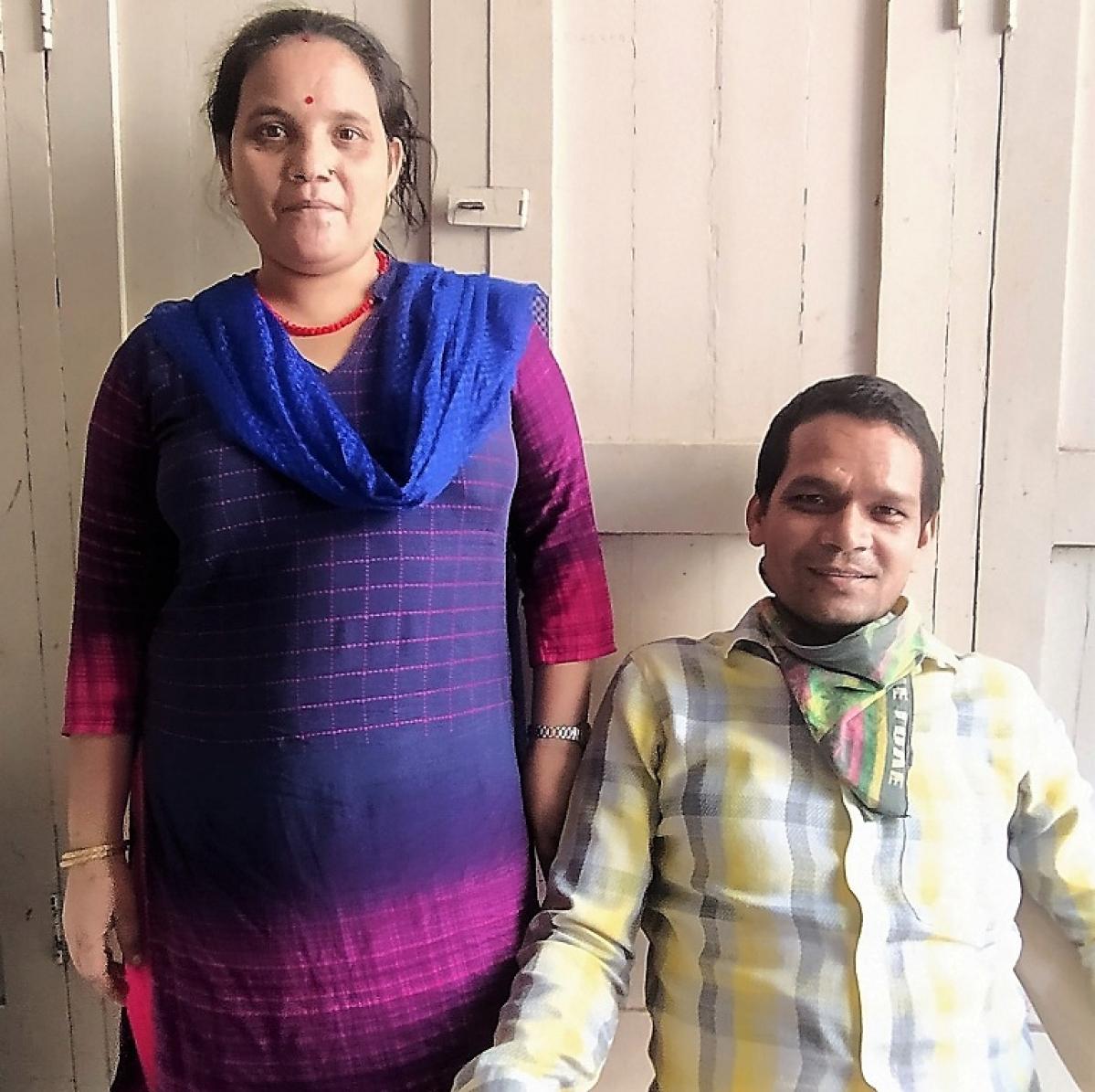 Nepali watchman Kamlesh Kami with wife Laxmi