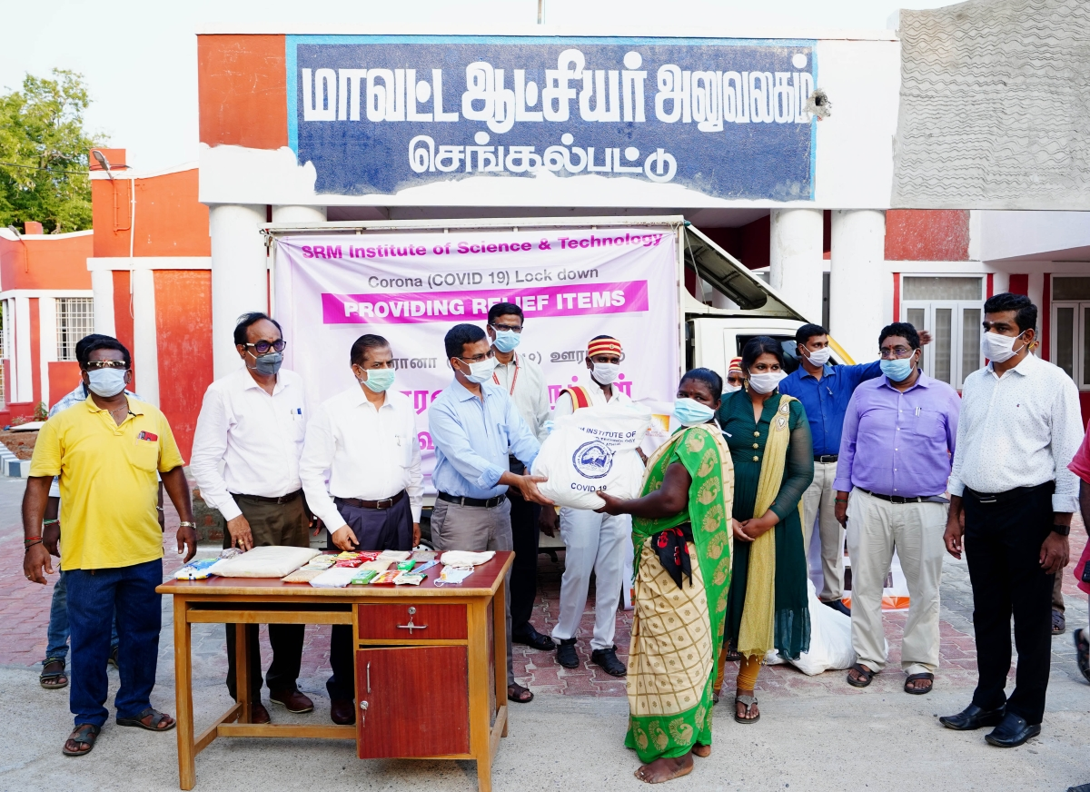 SRM distributes 1000 packets of relief materials to the needy