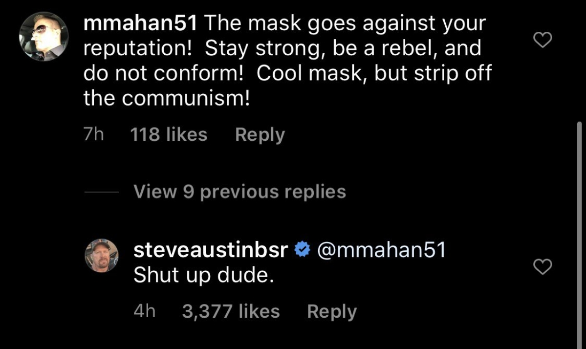 Stone Cold Steve Austin just delivered a virtual stunner to Insta user who asked him to 'strip off communism'