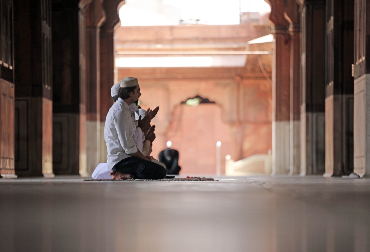 People offer Prayer on the Second Friday of the holy fasting month of Ramadan at Jama Masjid after the government eased a nationwide lockdown imposed as a preventive measure against the spread of the COVID-19 disease in New Delhi on Friday