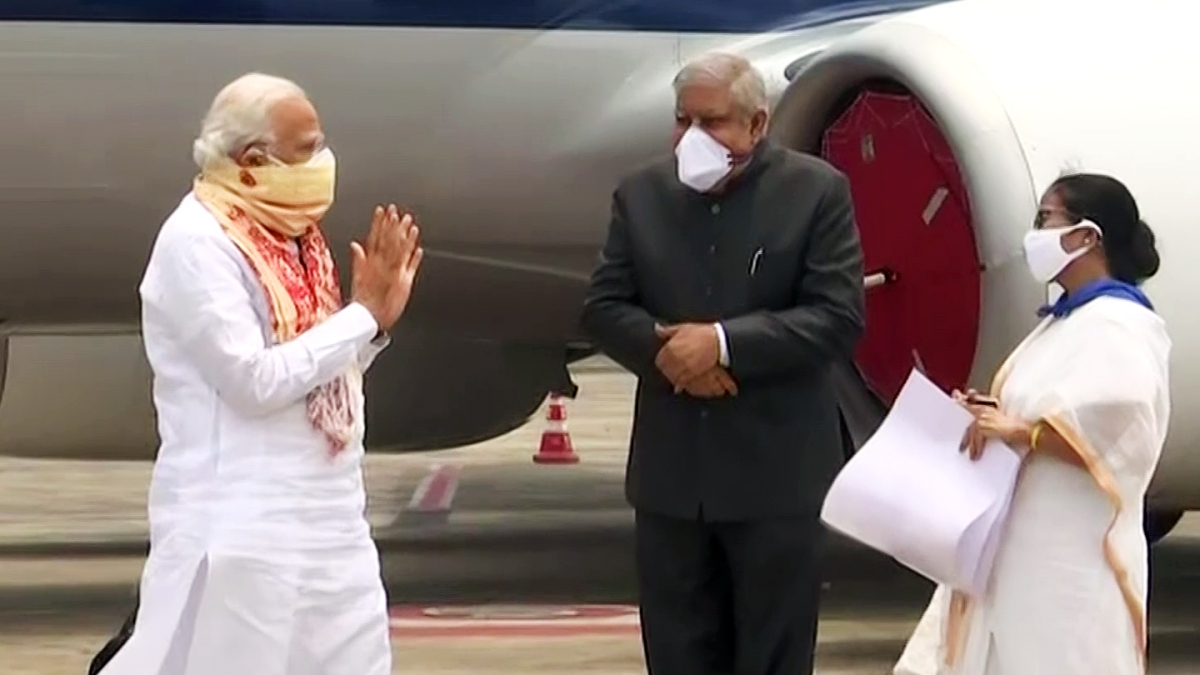 Prime Minister Narendra Modi received by West Bengal CM Mamata Banerjee and Governor Jagdeep Dhankhar in Bengal.