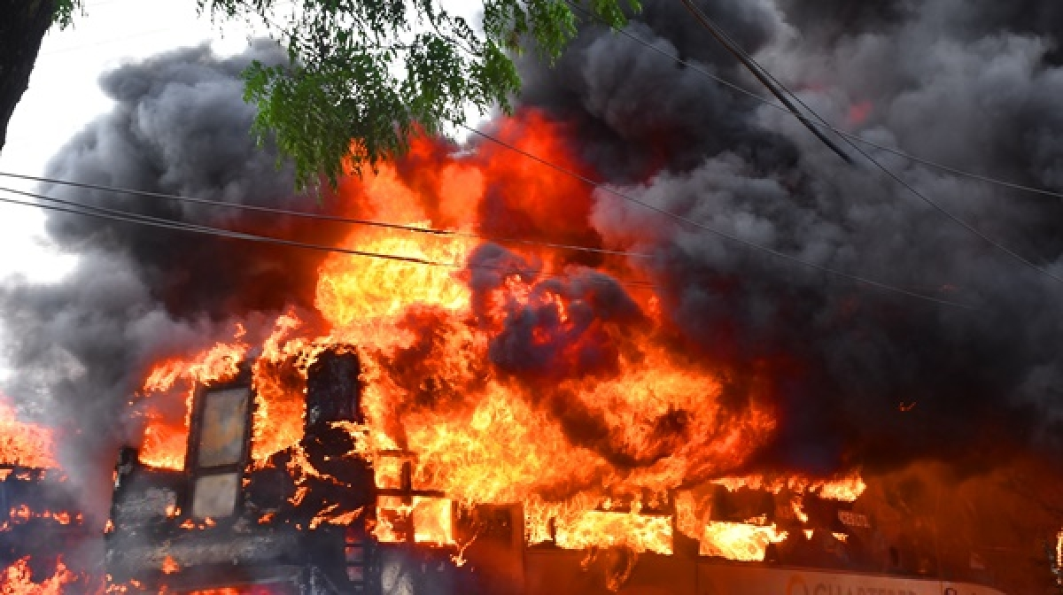 Indore: Volvo bus parked in AICTSL depot gutted in fire pix anand shivre