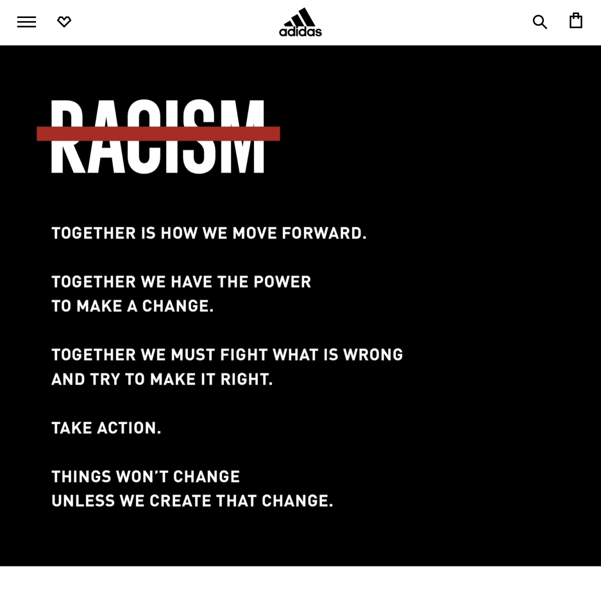 Adidas website carrying a message
