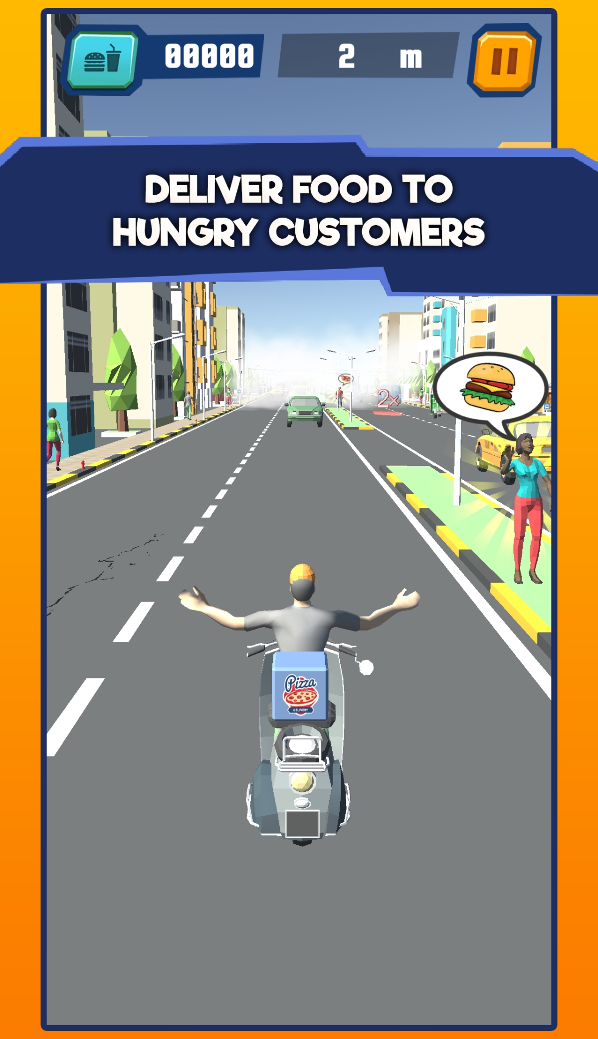Deliver hot meals to hungry customers with 'Food Delivery Run' by Platanista games
