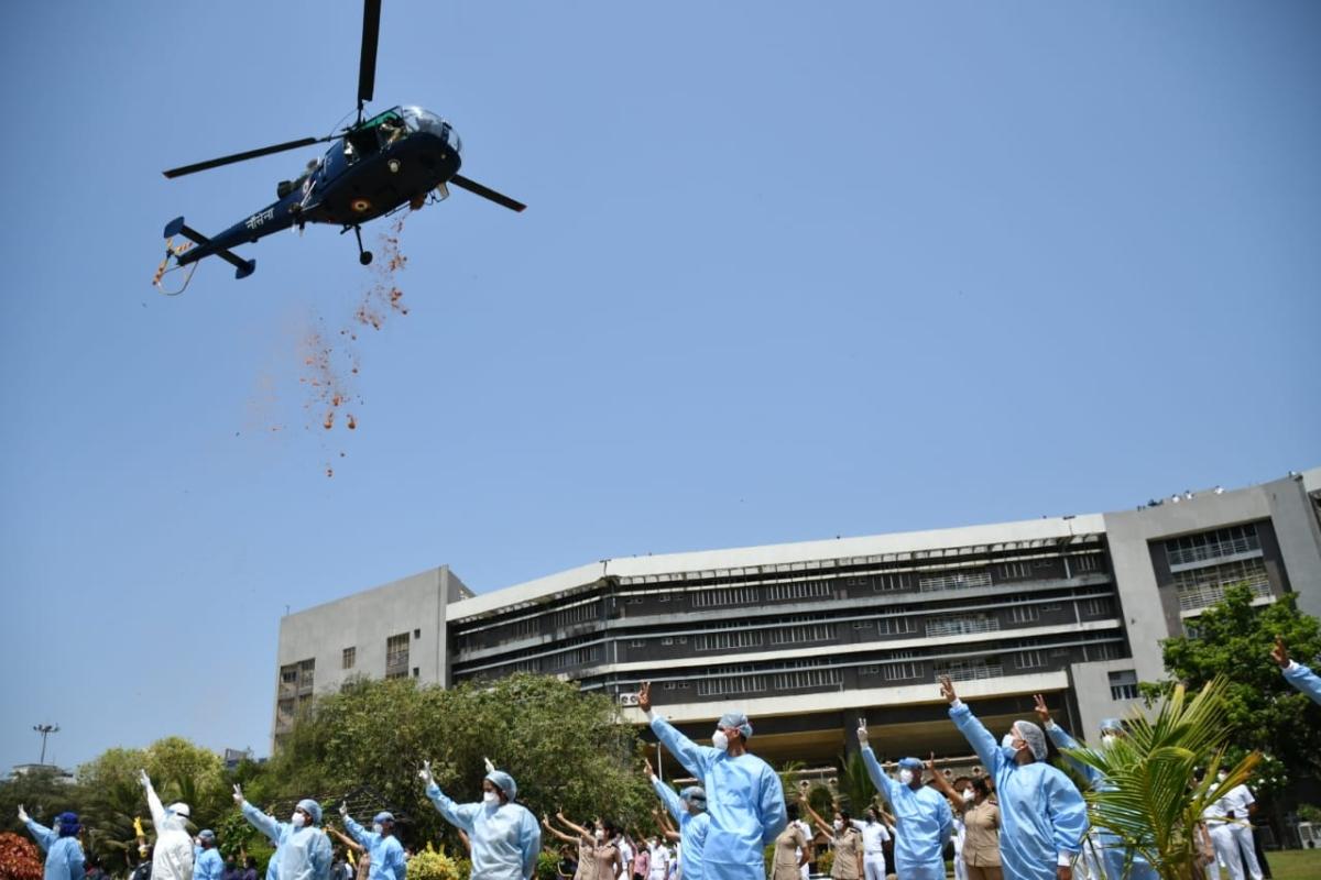 IAF pays tribute to corona warriors at INS Aswin hospital  on Sunday
