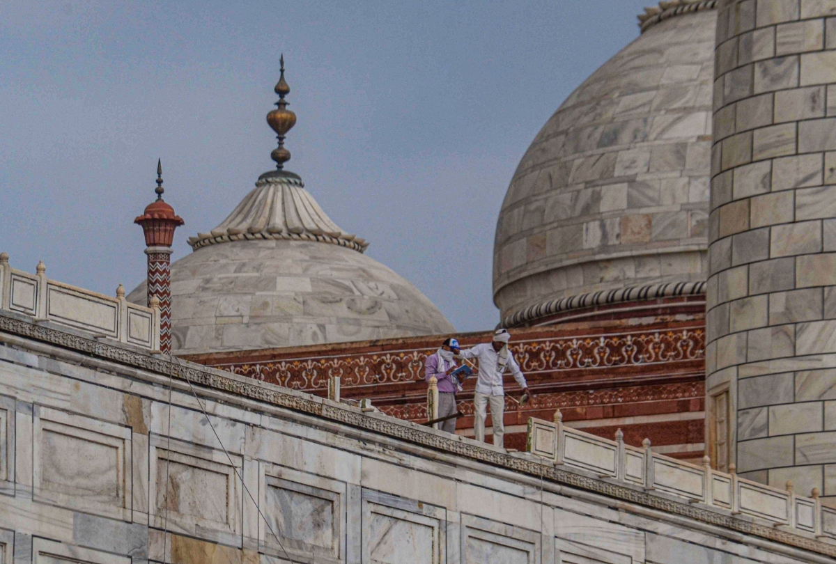 Iconic Taj Mahal's marble railing damaged due to thunderstorm in Agra