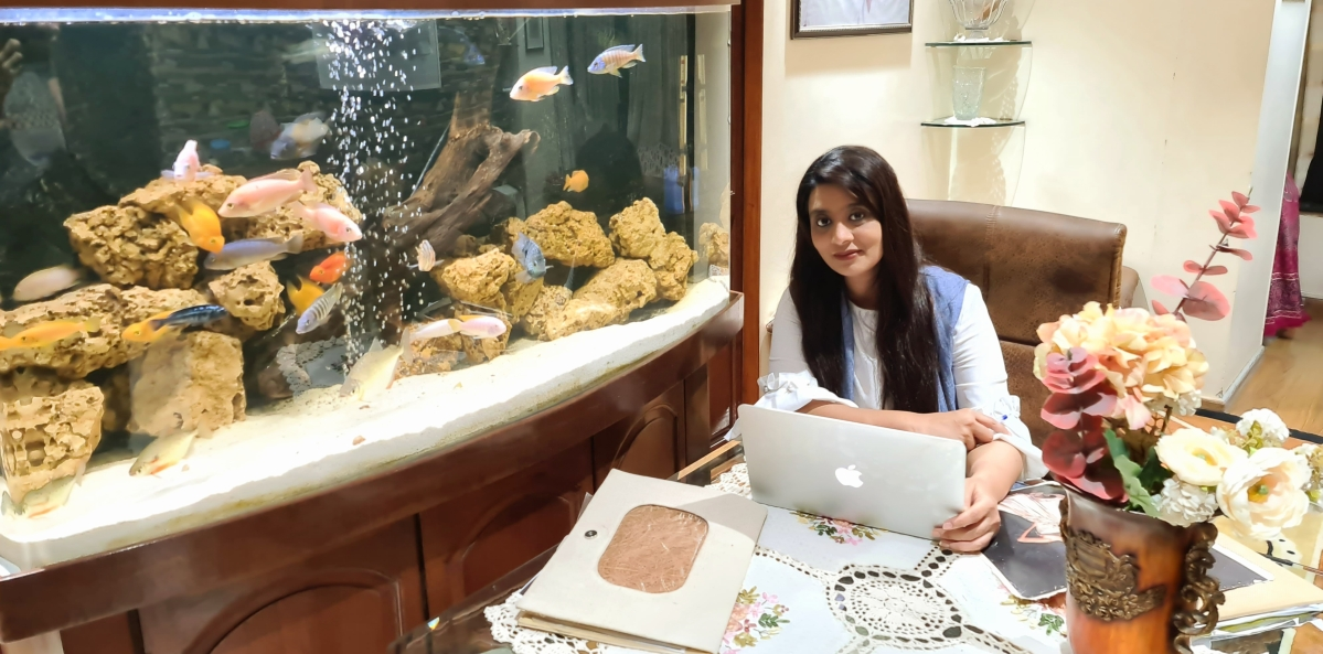 Tasneem Merchant in her work station at home