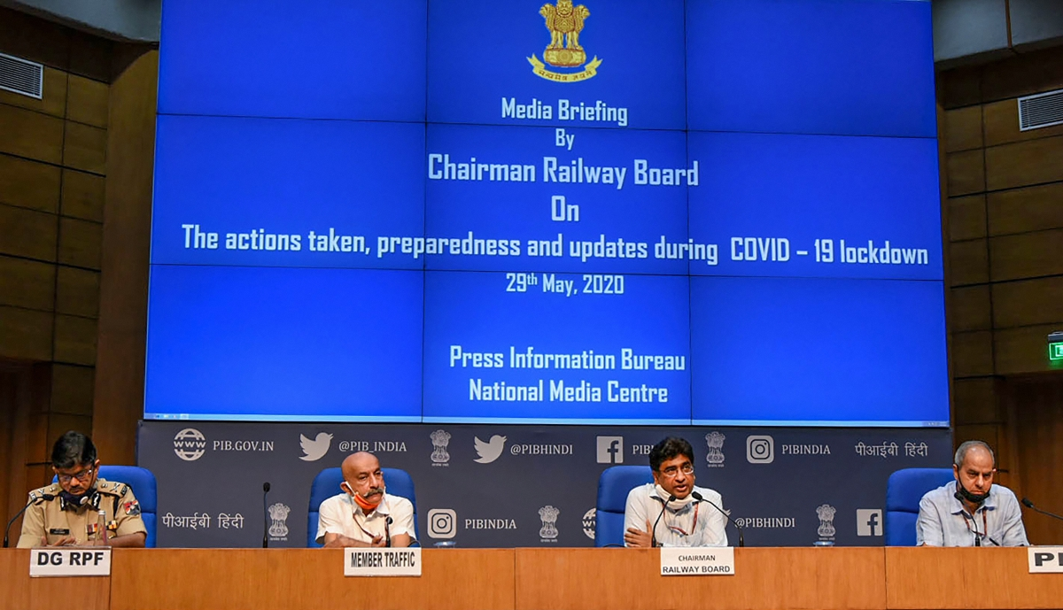 Chairman, Railway Board, Vinod Kumar Yadav addresses a press conference on the actions taken, preparedness, and update during COVID-19 lockdown, in New Delhi, Friday, May 29, 2020. Member Traffic, PS Mishra, the Principal Director General (M&C), Press Information Bureau, KS Dhatwalia, and the Director-General of Railway Protection Force (RPF), Arun Kumar also seen.