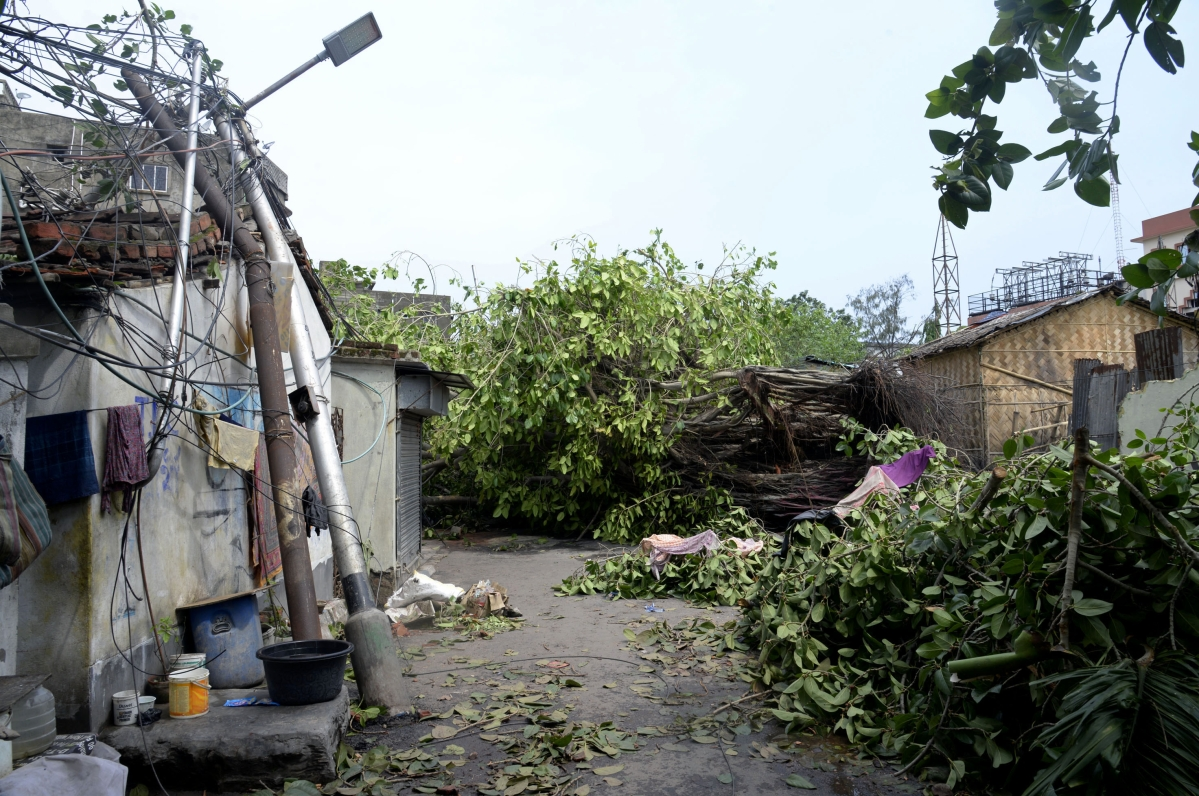 Tress and eletcricity poles gets uprooted and disrupting the normal life of people as a result of cyclone Amphan in Kolkata on Friday.