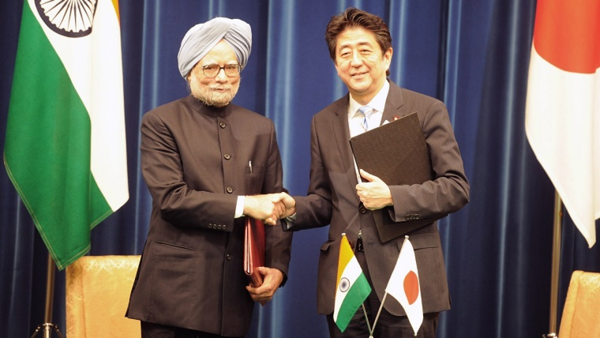Former Prime Minister, Dr. Manmohan Singh and the Prime Minister of Japan, Mr. Shinzo Abe in 2013.