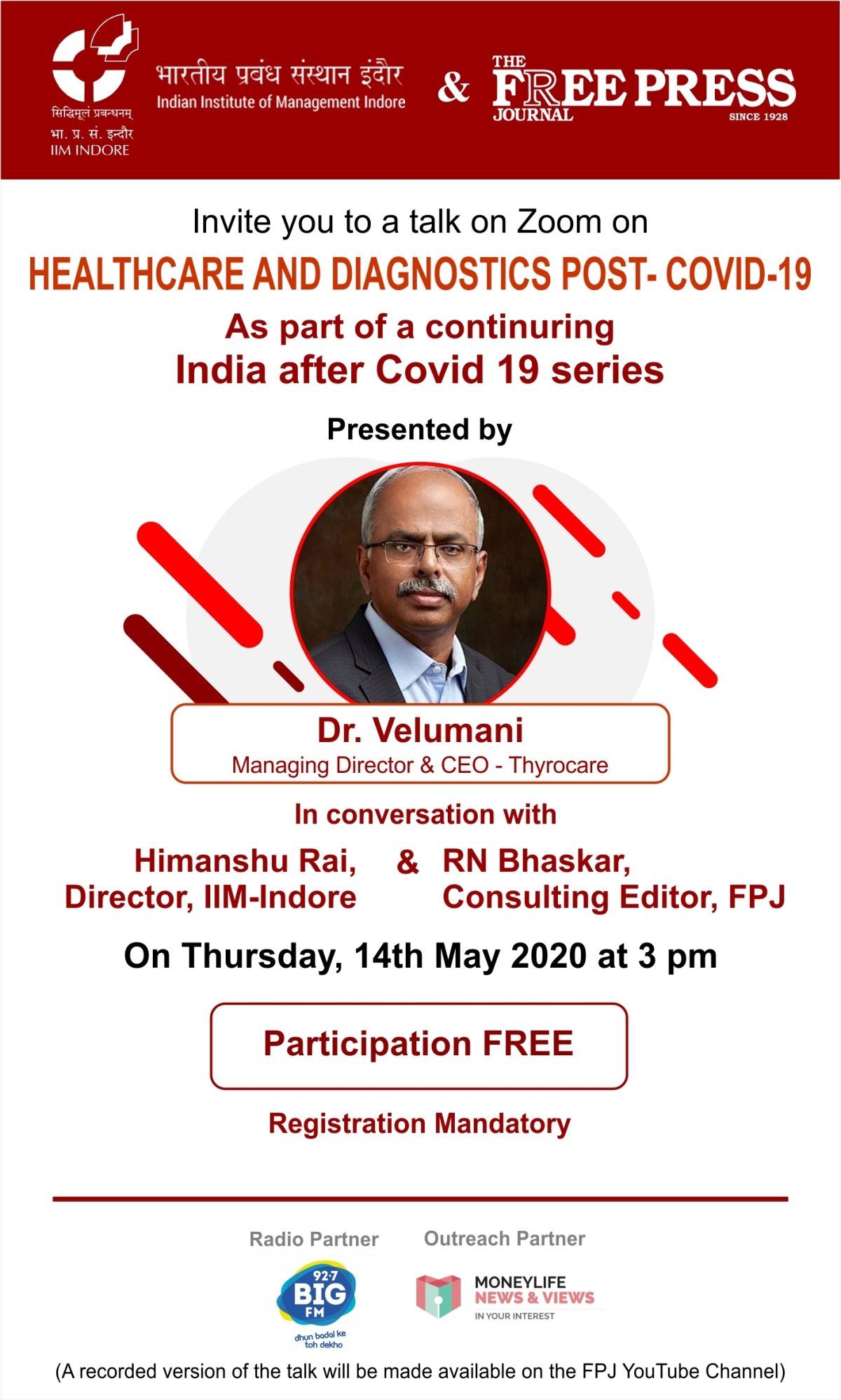 FPJ and IIM Indore organise 'India After COVID-19' interactions with Thyrocare's Velumani