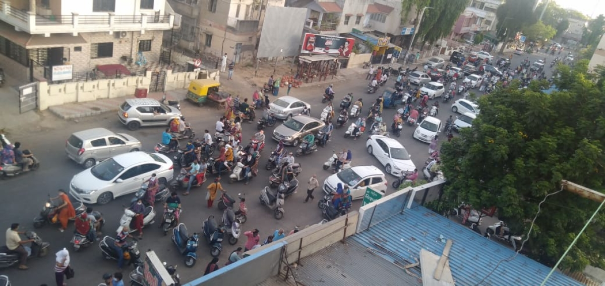Ahmedabad shut down: Social distancing norms broken after AMC gives 3-hour window to buy essentials