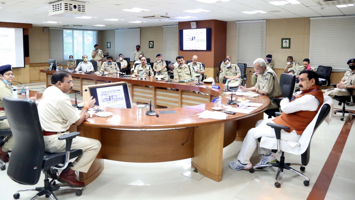 home minister Narottam Mishra in a meeting