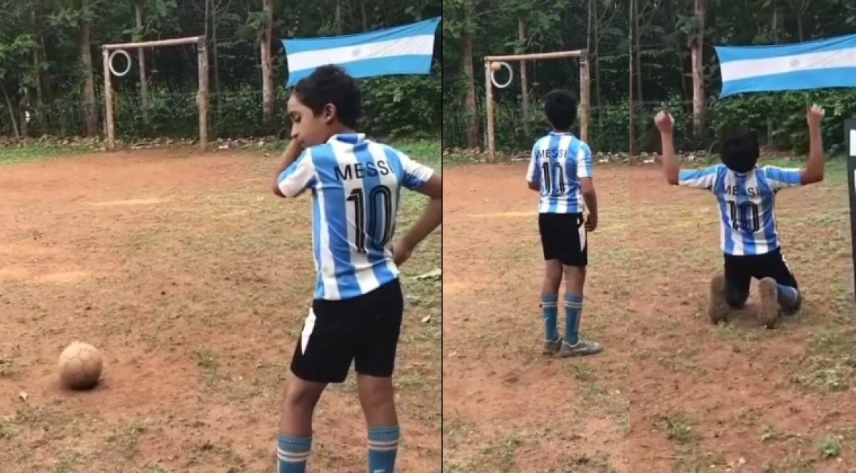 Watch: 12-year-old Kerala boy scores a perfect top bin like Lionel Messi