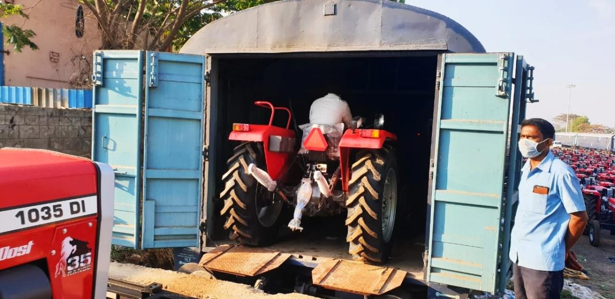 SWR transports tractors to Gujarat & Rajasthan from Karnataka