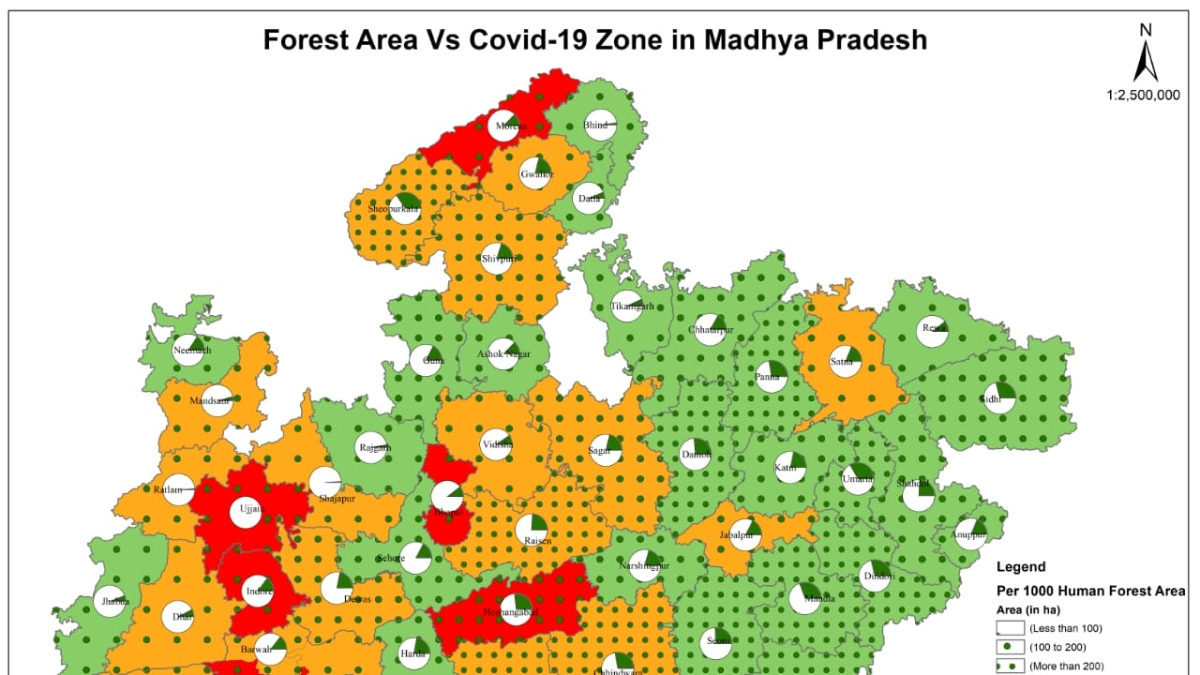 Map released by forest department showing a comparative study of COVID-19 affected areas and the current forest cover in the area