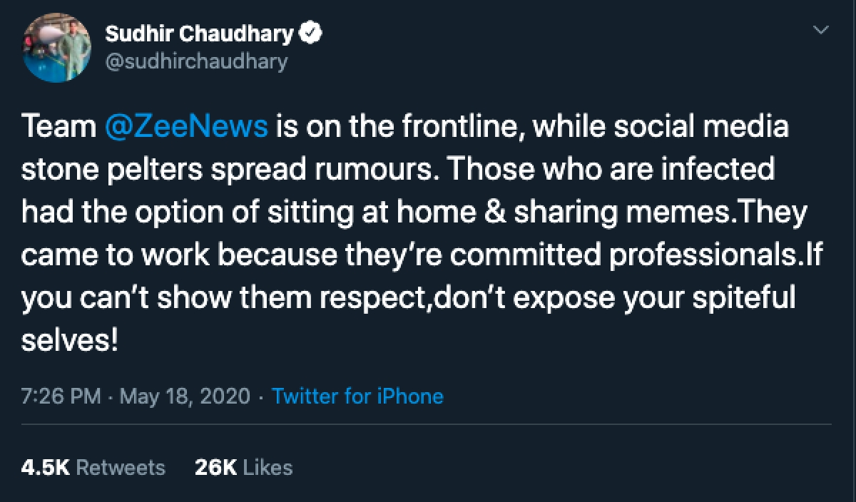 Sudhir Chaudhary says employees came to work; Twitter asks if they came infected with coronavirus