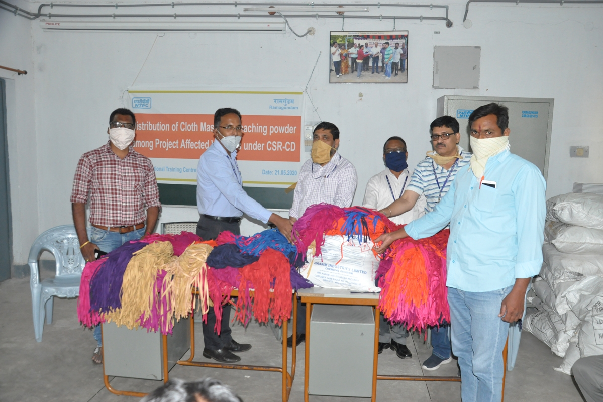 NTPC distributes 5000 cotton masks and 20 quintal bleaching powder